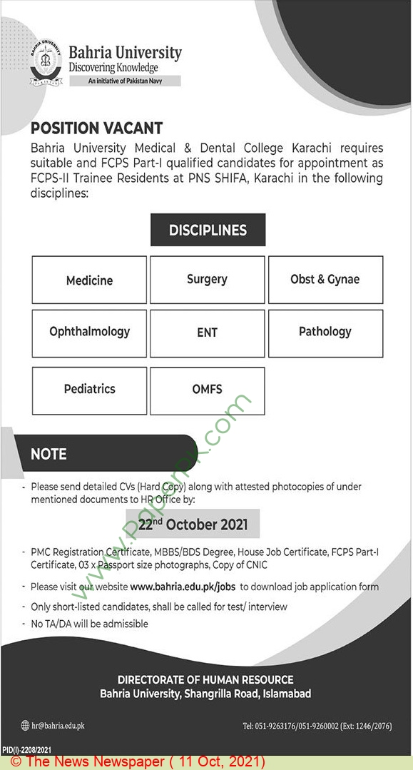 Bahria University jobs newspaper ad for Faculty in Karachi on 2021-10-11
