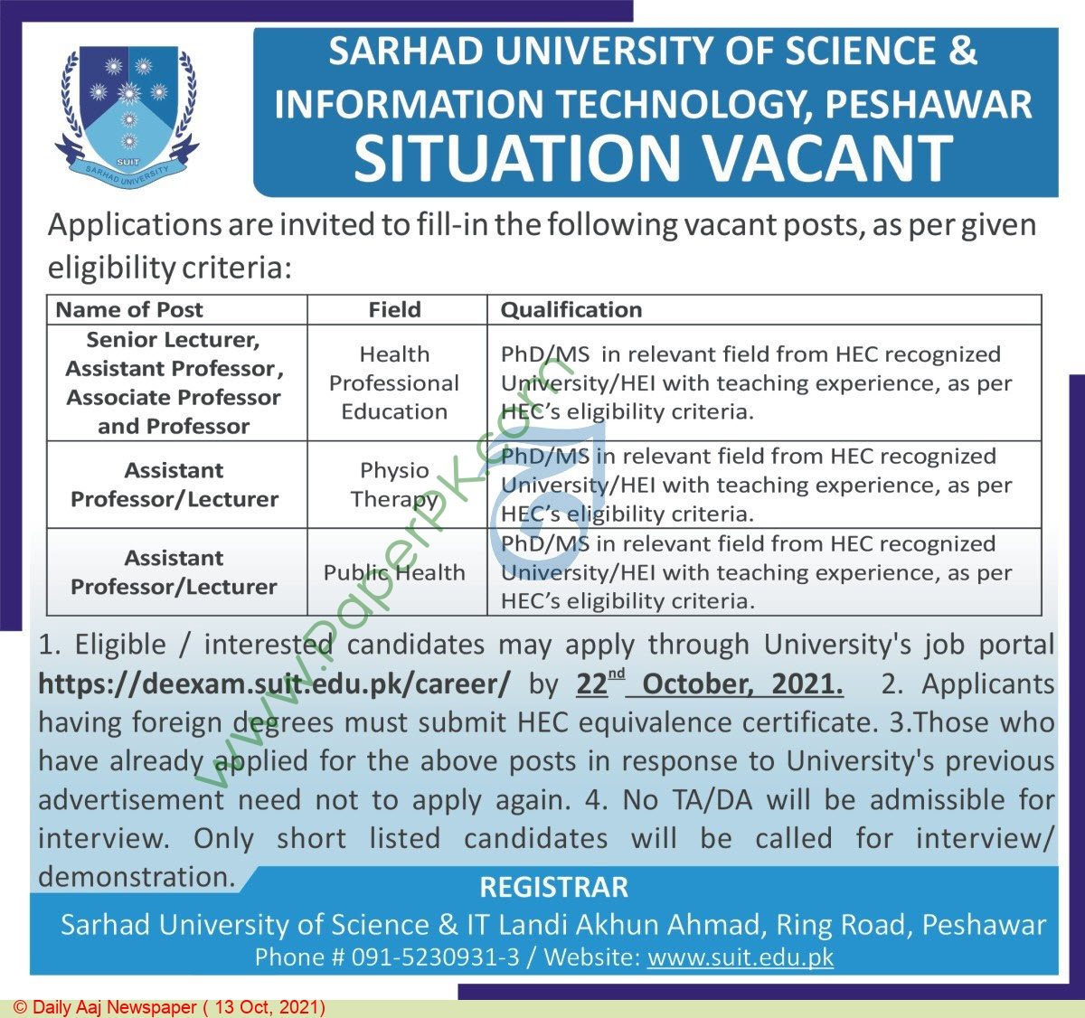 Sarhad University Of Science & Information Technology jobs newspaper ad for Professor in Peshawar on 2021-10-13