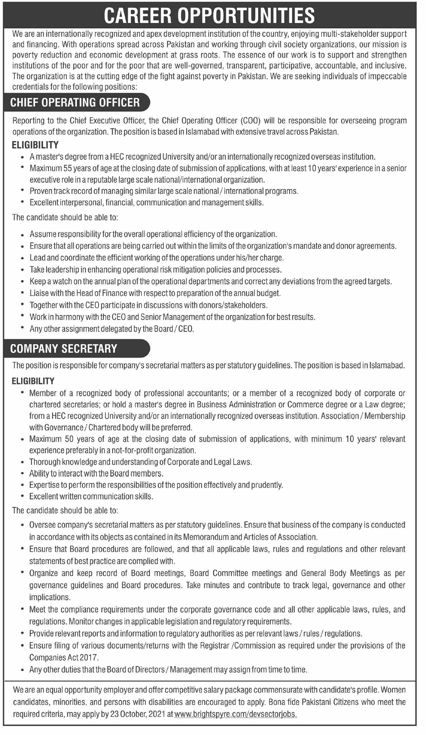 Pakistan Based Company jobs newspaper ad for Chief Operating Officer in Karachi on 2021-10-13