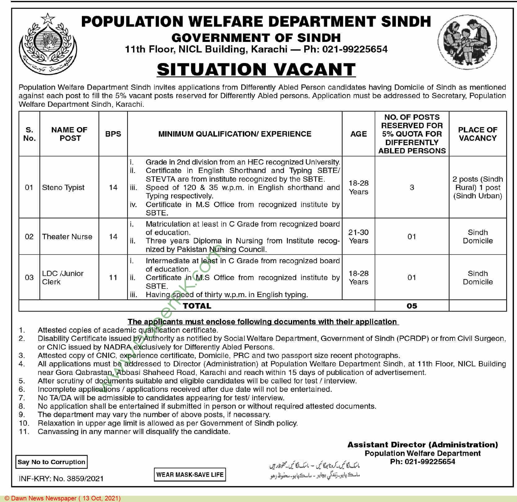 Population Welfare Department jobs newspaper ad for Steno Typist in Karachi on 2021-10-13