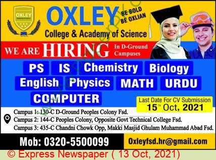 Oxley College & Academy Of Science jobs newspaper ad for Teacher in Faisalabad on 2021-10-13