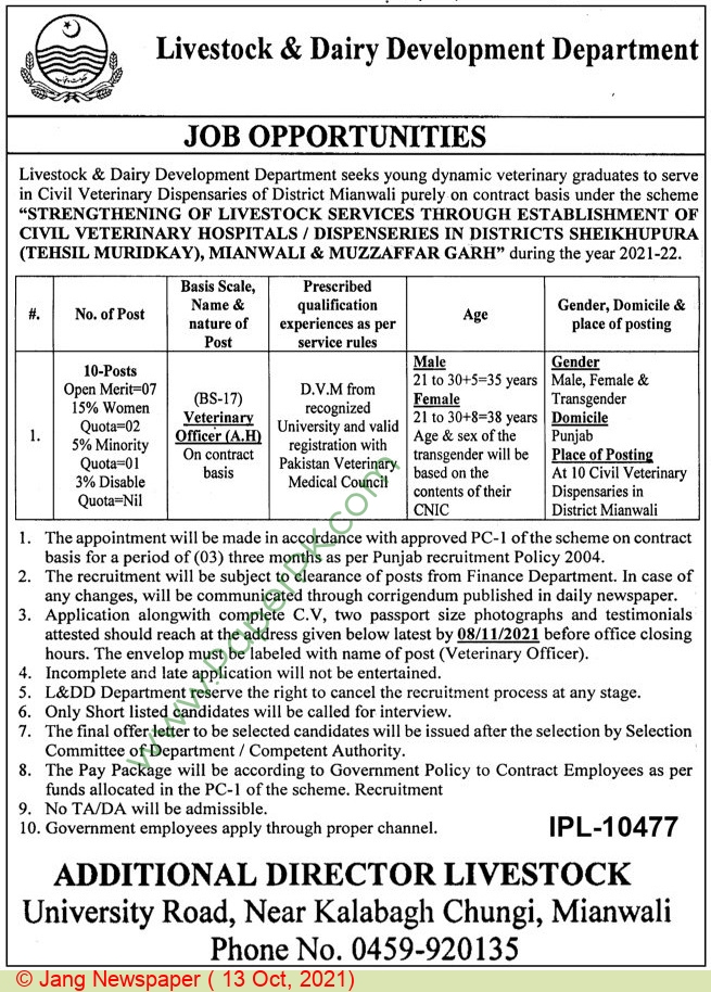 Livestock & Dairy Development Department jobs newspaper ad for Veterinary Officer in Mianwali on 2021-10-13