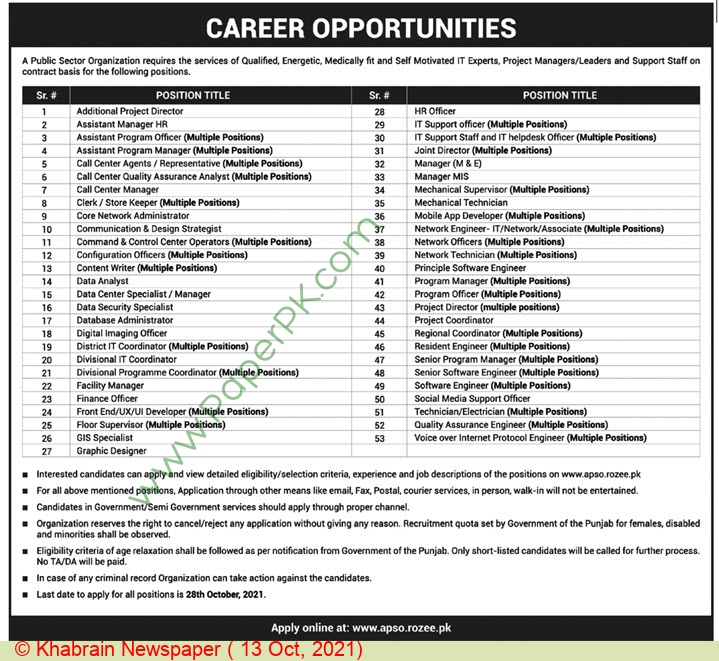 Public Sector Organization jobs newspaper ad for Quality Assurance Engineer in Lahore on 2021-10-13