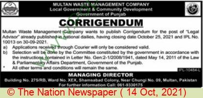 Local Government & Community Development Department jobs newspaper ad for Legal Advisor in Multan on 2021-10-14