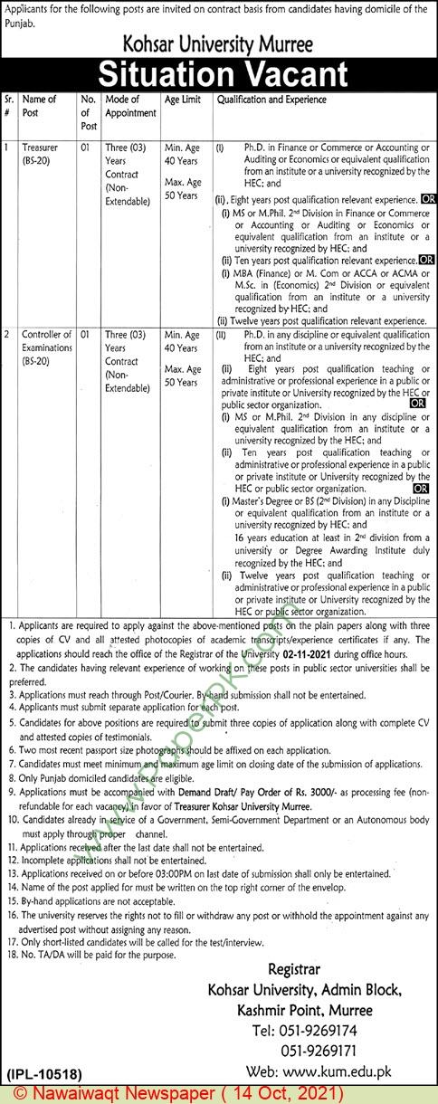 Kohsar University jobs newspaper ad for Treasurer in Murree on 2021-10-14