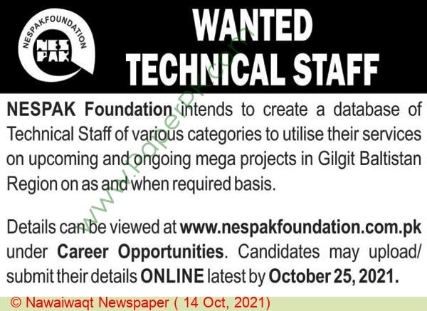 Nespak Foundation jobs newspaper ad for Technical Staff in Baltistan, Gilgit on 2021-10-14