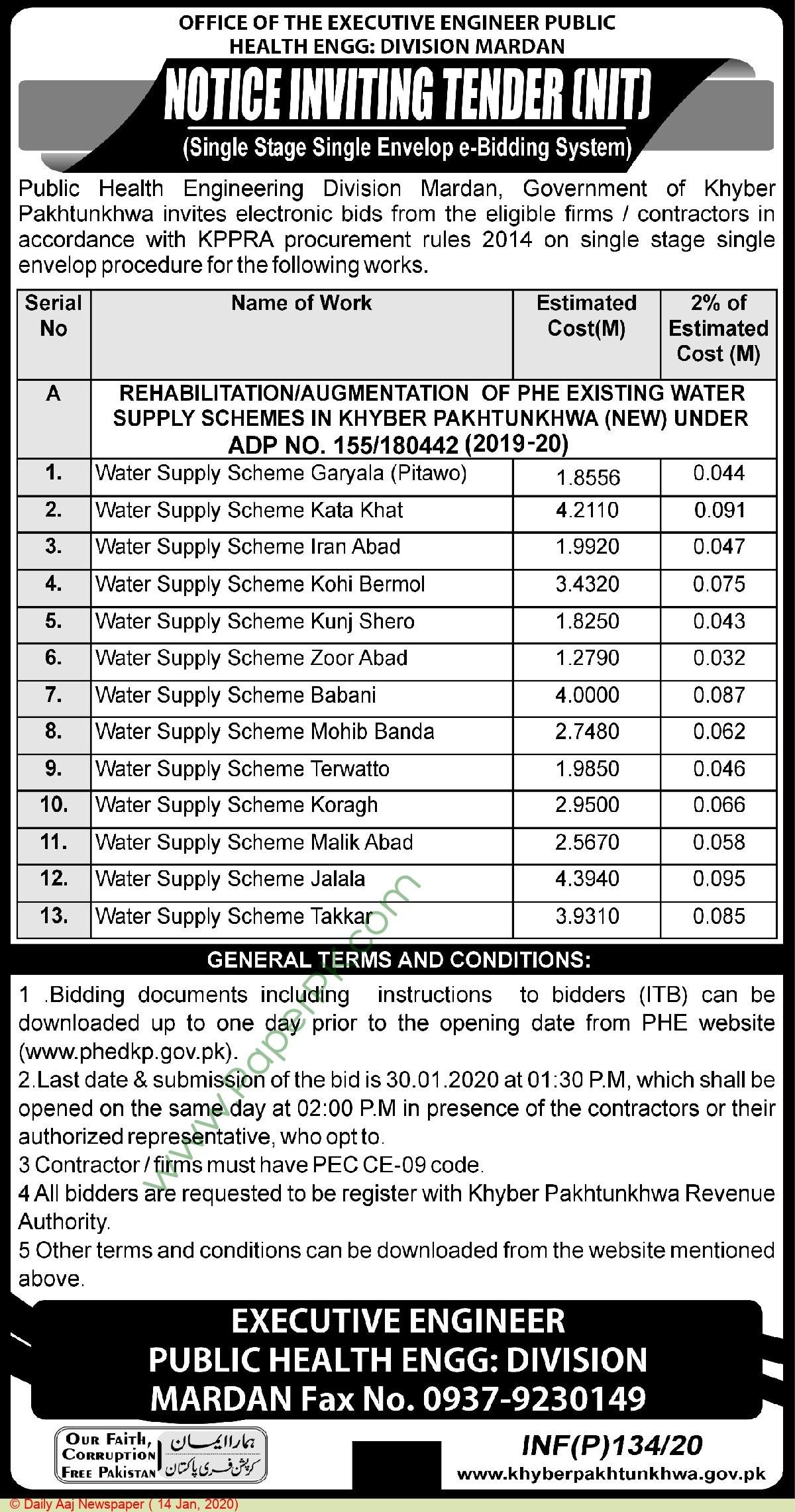 Public Health Engineering Department Mardan Tender Notice
