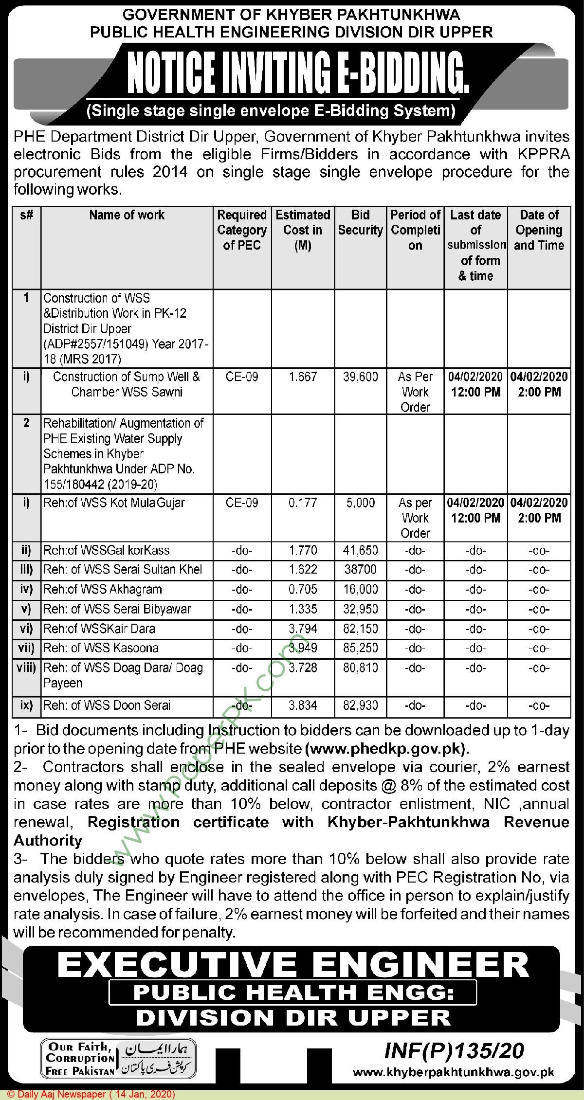 Public Health Engineering Department Upper Dir Tender Notice
