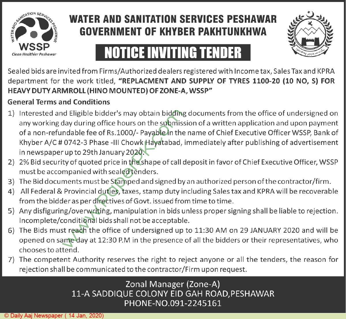 Water & Sanitation Services Peshawar Tender Notice