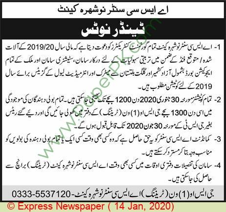 Asc Center Nowshera Cantt Tender Notice