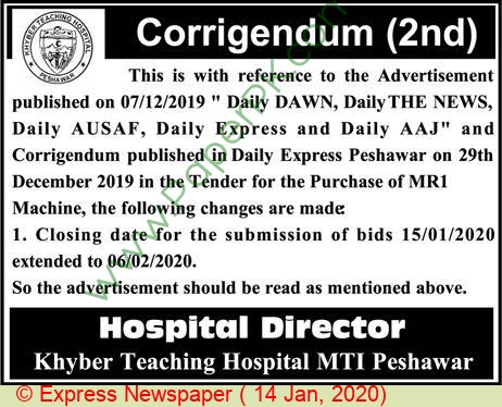 Khyber Teaching Hospital Mti Peshawar Tender Notice