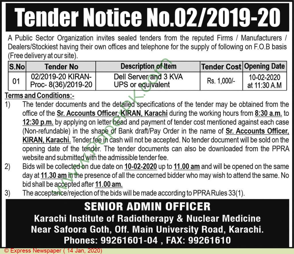 Public Sector Organization Karachi Tender Notice