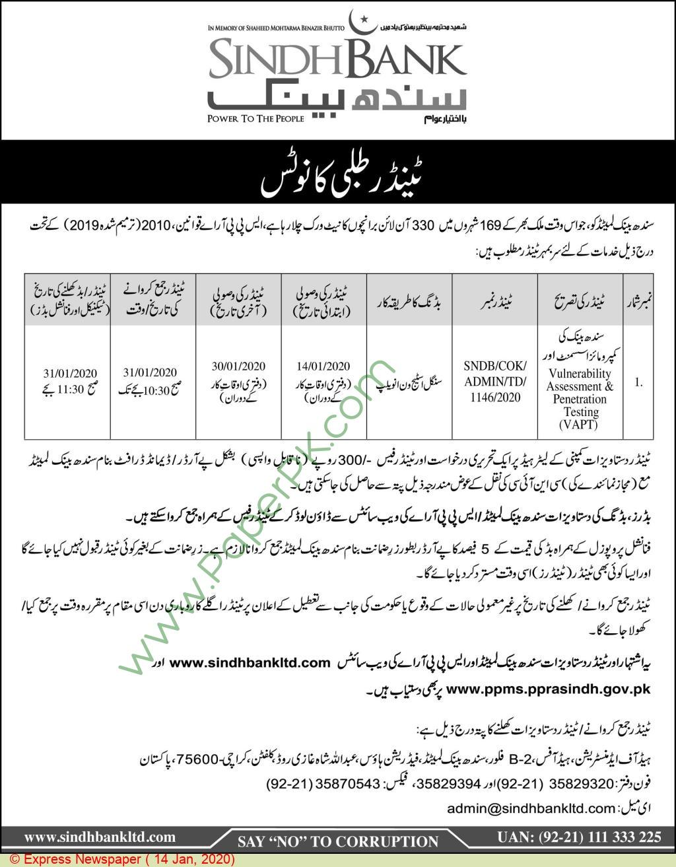 Sindh Bank Karachi Tender Notice