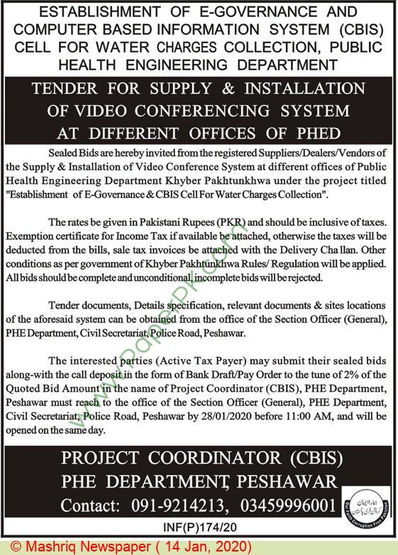 Phe Department Peshawar Tender Notice