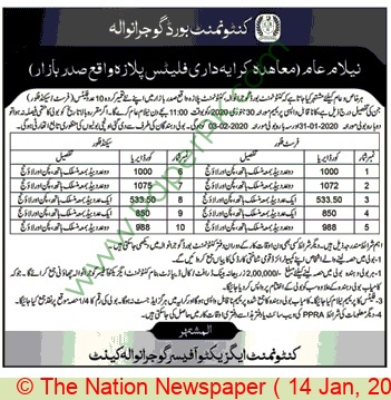Cantonment Board Gujranwala Auction Notice.1