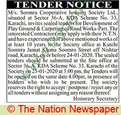 Soomra Cooperative Society Ltd Karachi Tender Noice