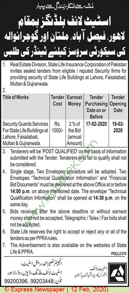 State Life Insurance Corporation Of Pakistan Lahore Tender ...