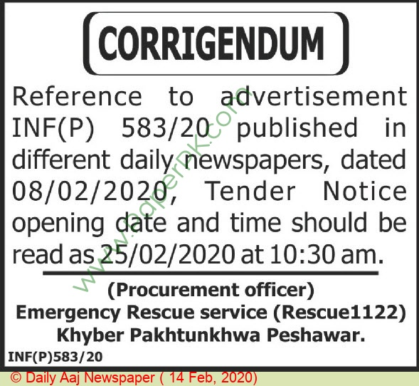 Emergency Rescue Service 1122 Peshawar Tender Notice