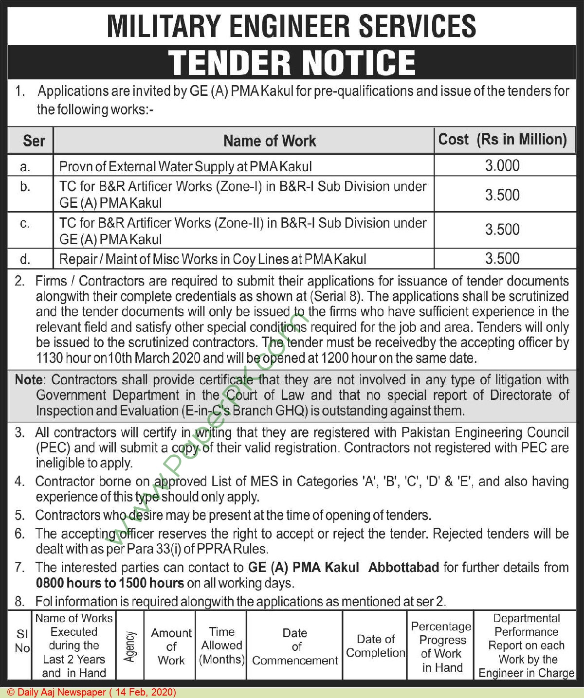 Military Engineering Services Abbottabad Tender Notice