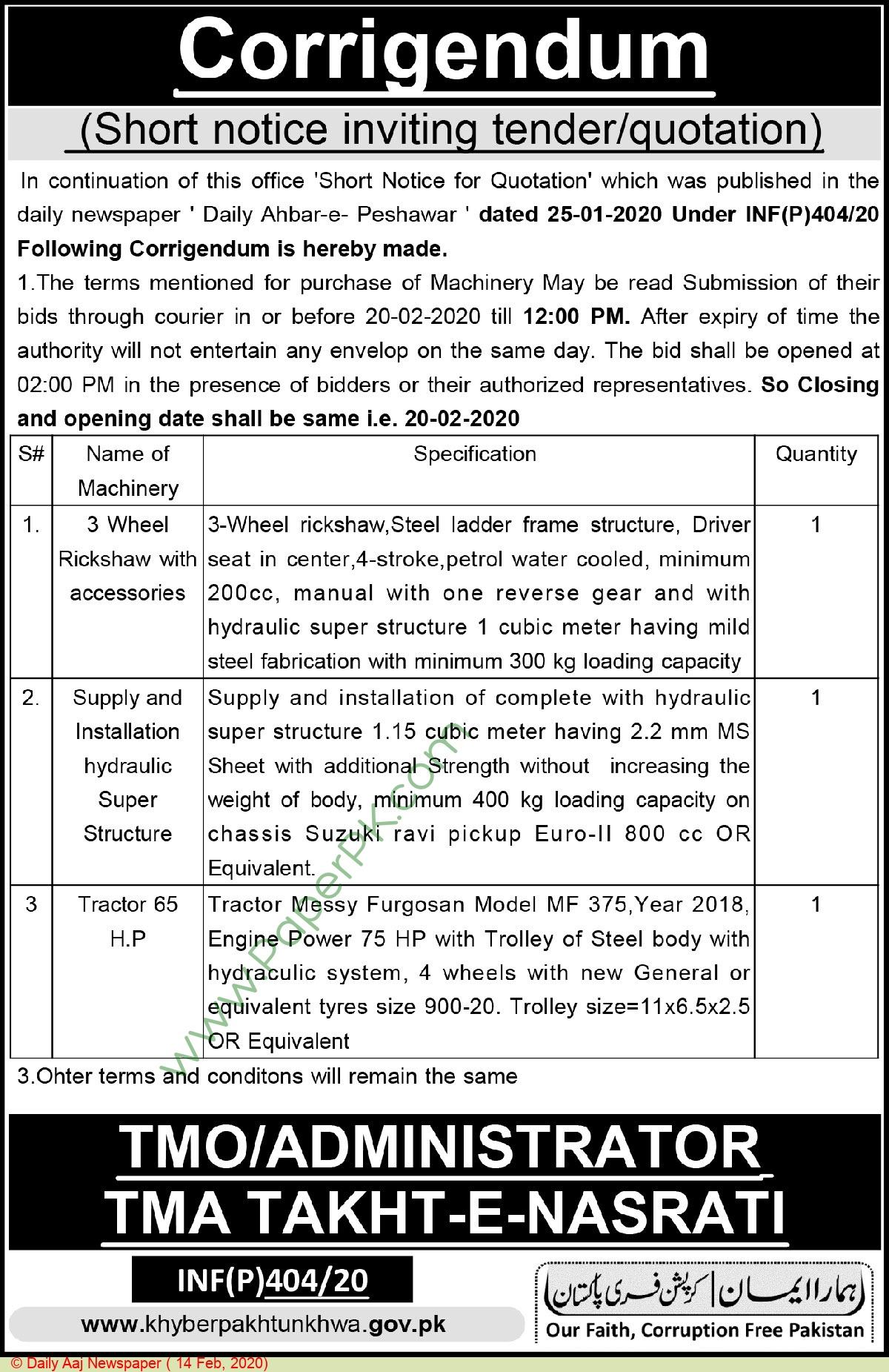 Tehsil Municipal Administration Takht E Nasrati Tender Notice