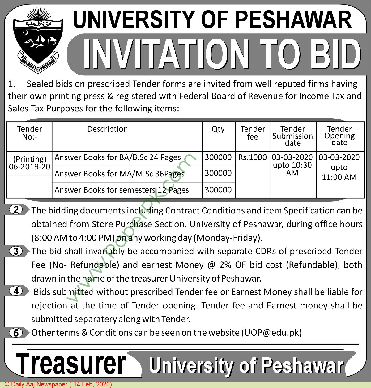 University Of Peshawar Tender Notice
