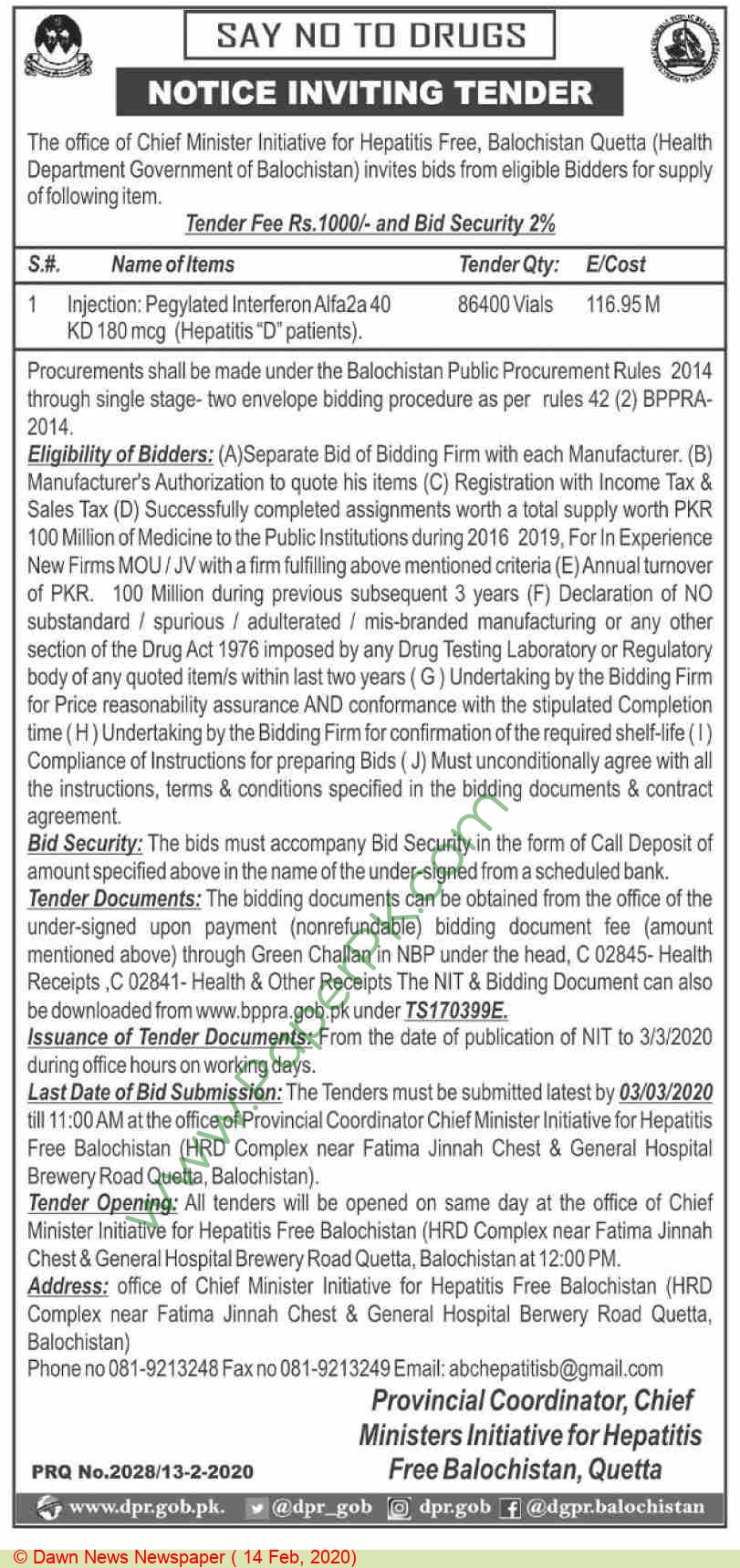 Chief Minister Initiative For Hepatitis Free Balochistan Quetta Tender Notice