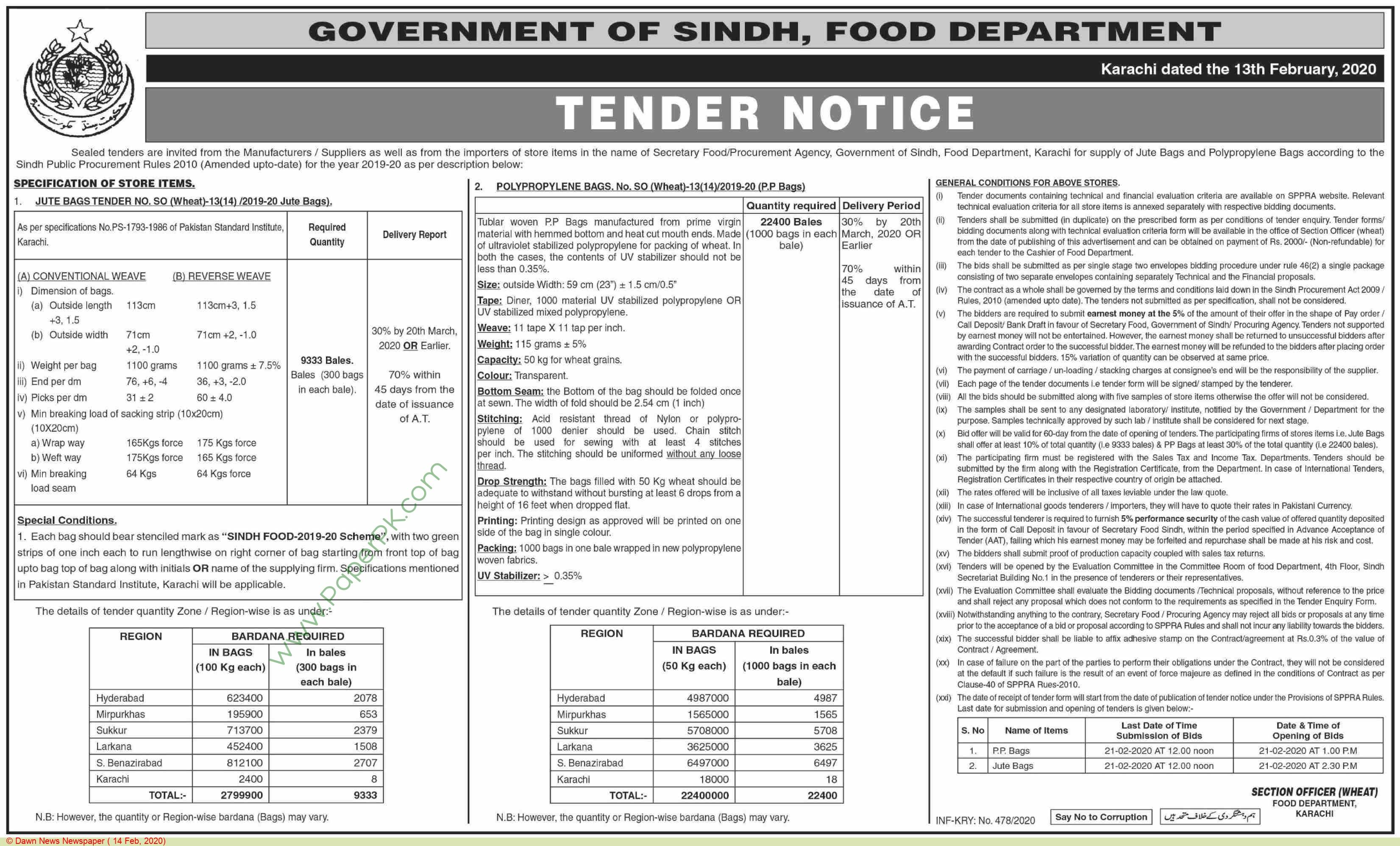 Food Department Karachi Tender Notice