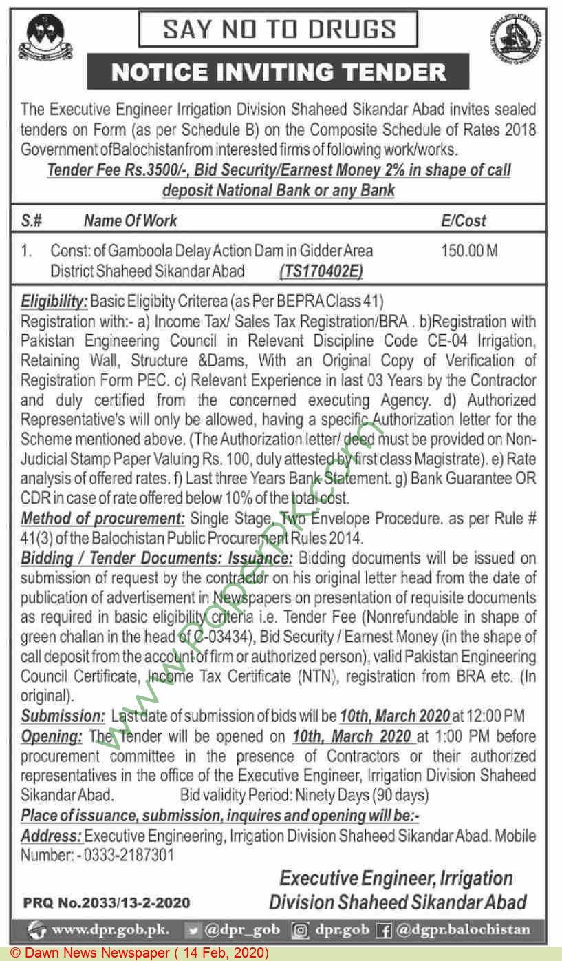 Irrigation Division Shaheed Sikandarabad Tender Notice