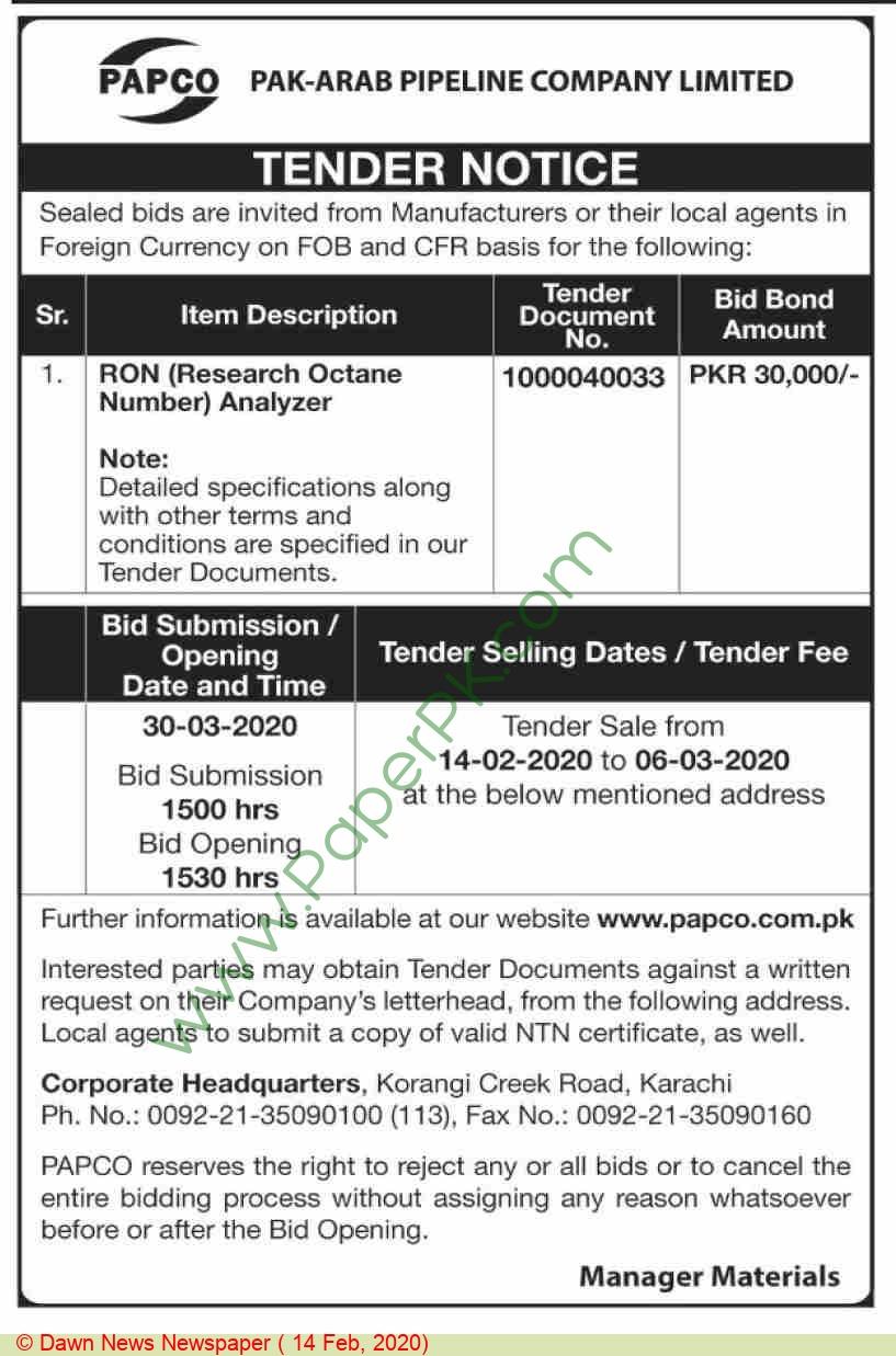 Pak Arab Pipeline Company Limited Karachi Tender Notice