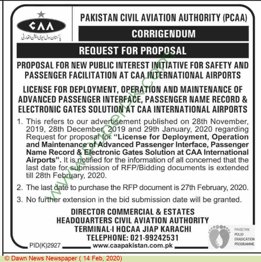 Pakistan Civil Aviation Authority Karachi Tender Notice