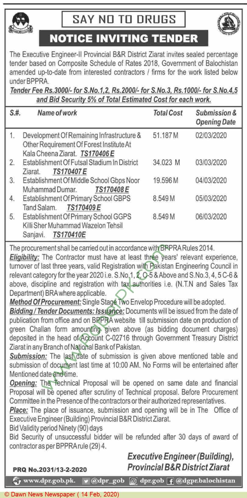 Provincial B & R District Ziarat Tender Notice