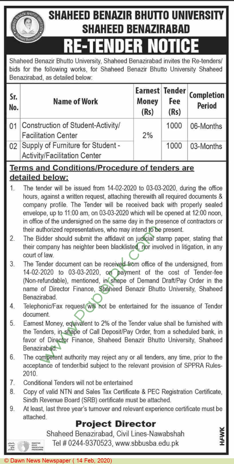 Shaheed Benazir Bhutto University Shaheed Benazirabad Tender Notice