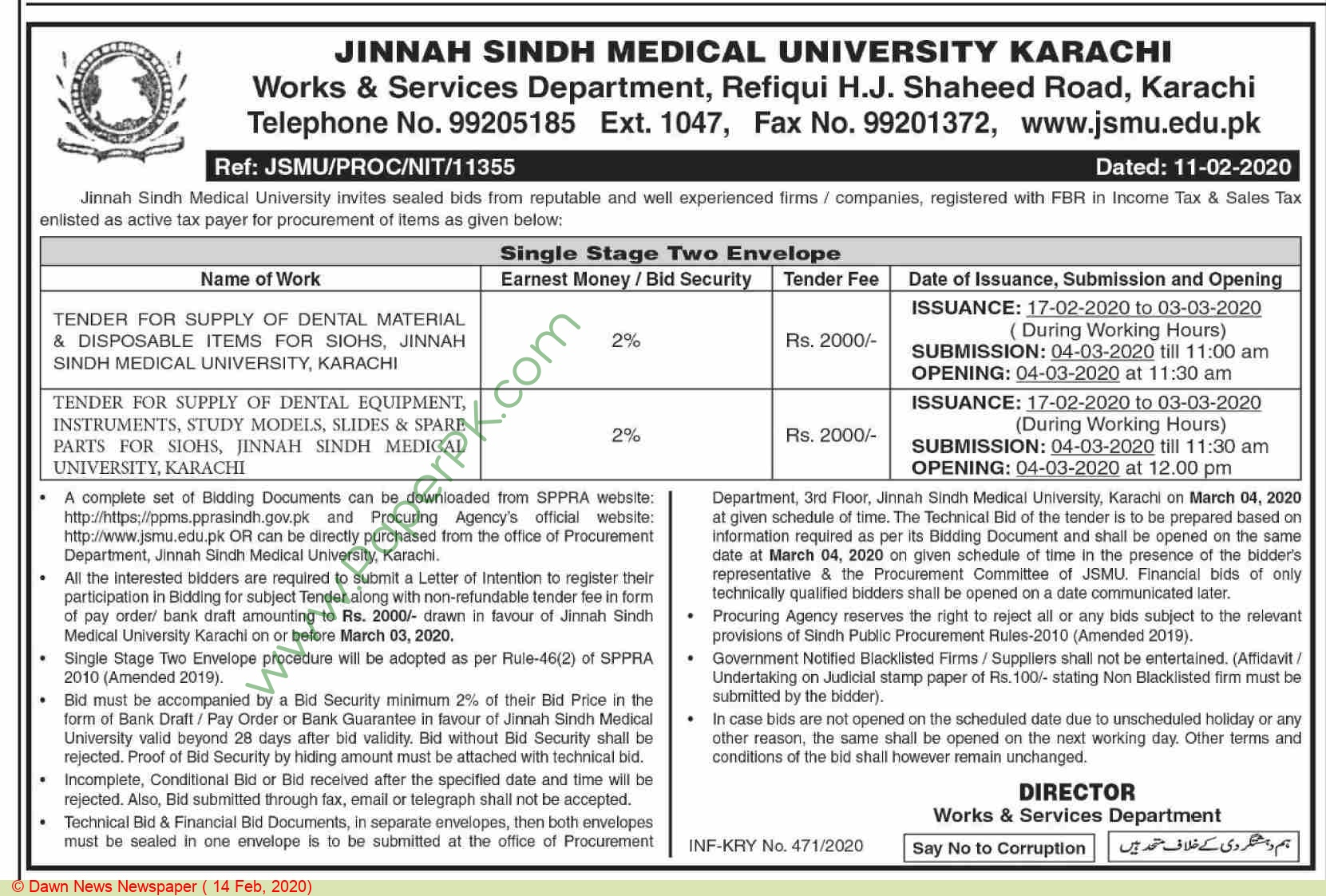 Works & Services Department Karachi Tender Notice