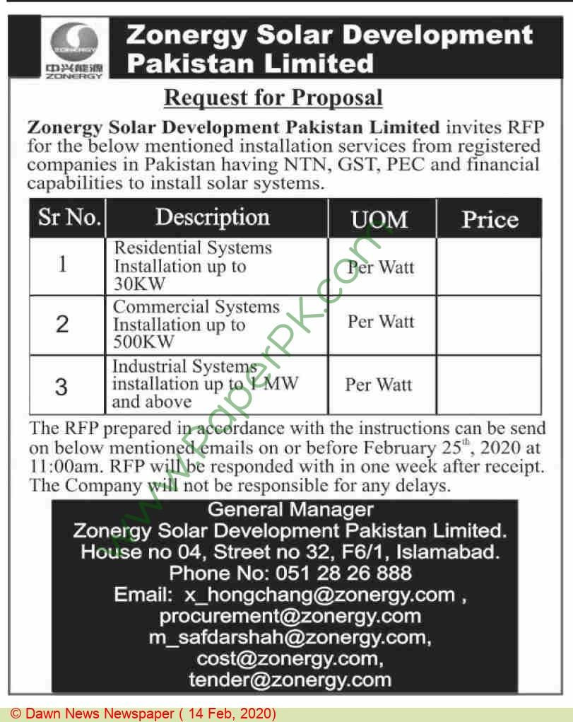 Zoenergy Solar Development Pakistan Limited Islamabad Tender Notice