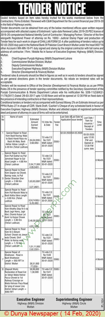 Highways Division Multan Tender Notice.