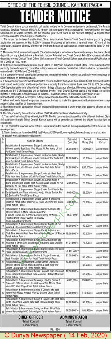 Tehsil Council Kahror Pacca Tender Notice