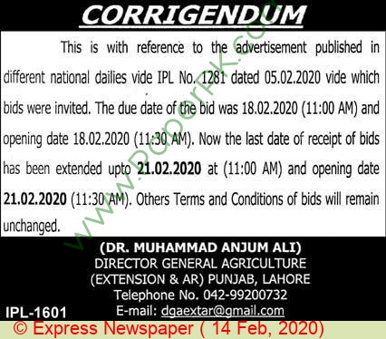 Agriculture Extension Lahore Tender Notice