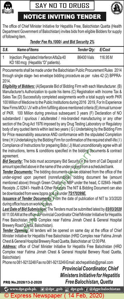 Chief Ministers Initiative For Hepatitis Free Balochistan Quetta Tender Notice