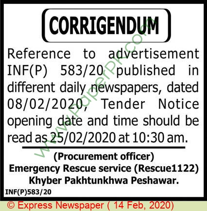 Emergency Rescue Service Rescue 1122 Peshawar Tender Notice