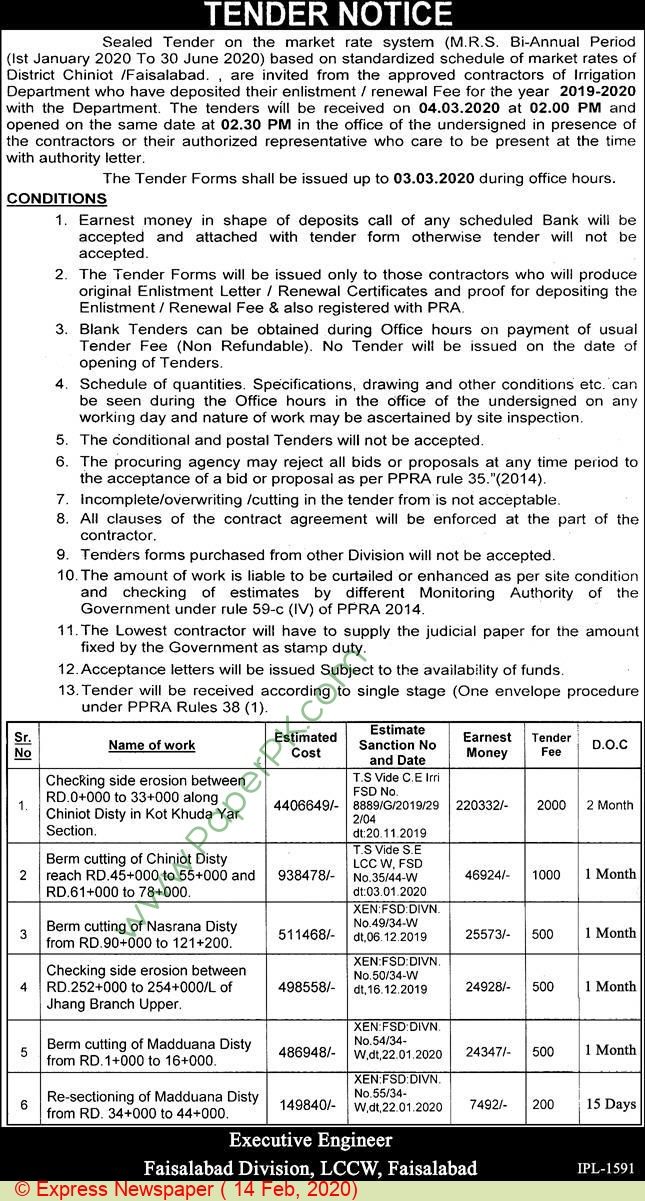 Faisalabad Division Lccw Faisalabad Tender Notice