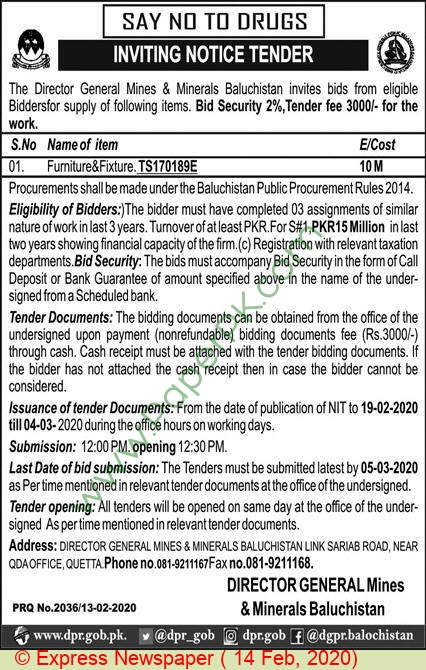 Mines & Minerals Department Quetta Tender Notice