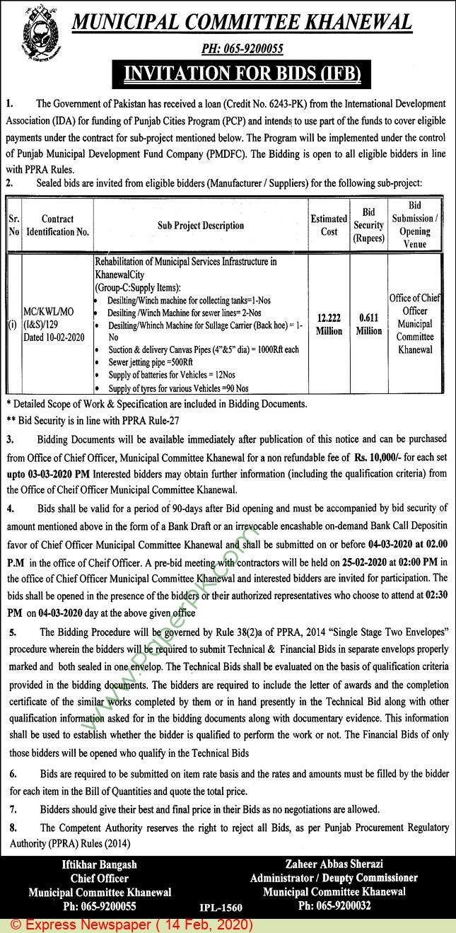 Municipal Commitee Khanewal Tender Notice