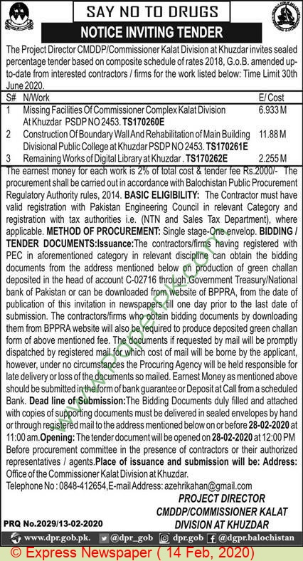 Office Of The Commissioner Kalat Tender Notice