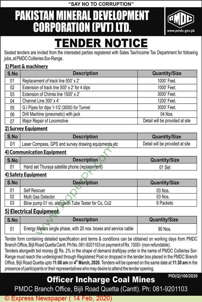 Pakistan Mineral Development Corporation Private Limited Quetta Tender Notice