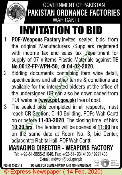 Pakistan Ordnance Factories Wah Cantt Tender Notice