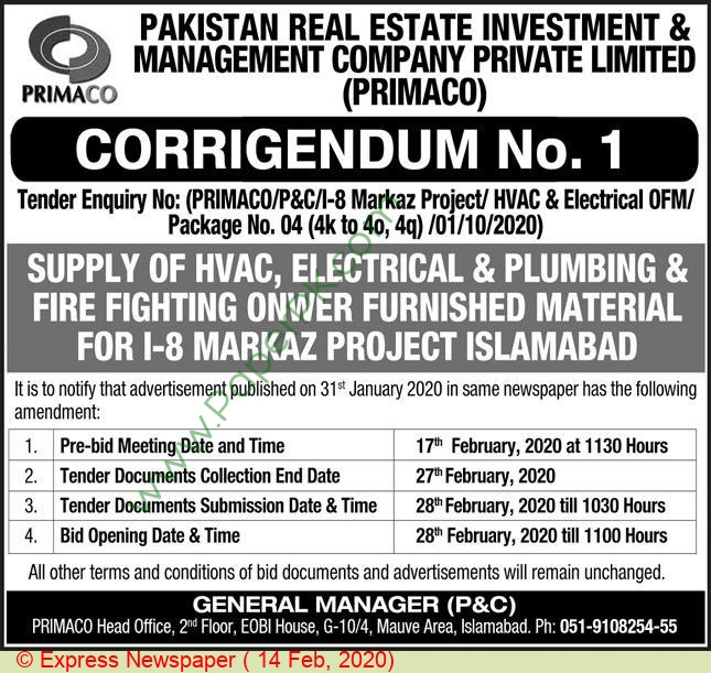 Pakistan Real Estate Investment & Management Company Islamabad Tender Notice(02)