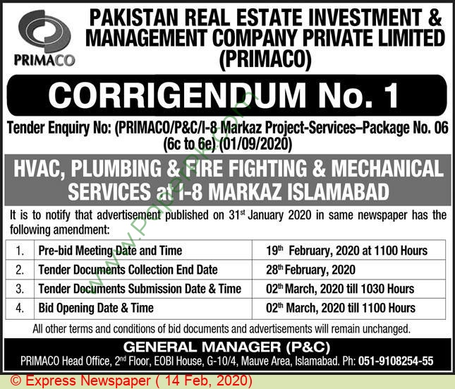 Pakistan Real Estate Investment & Management Company Islamabad Tender Notice(03)