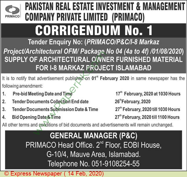 Pakistan Real Estate Investment & Management Company Islamabad Tender Notice