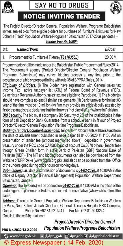 Population Welfare Programme Balochistan Tender Notice