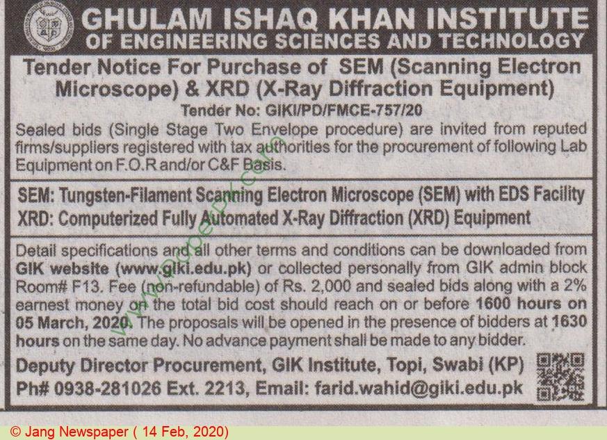 Gik Institute Of Engineering Sciences & Technology Swabi Tender Notice.